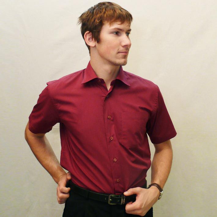 Červená pánská košile s krátkým rukávem rovná Friends and Rebels 40303 velikost 37/38 (S)
