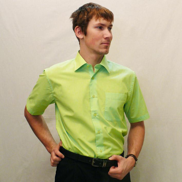 Zelená pánská košile s krátkým rukávem rovná Friends and Rebels 40503 velikost 39/40 (M)