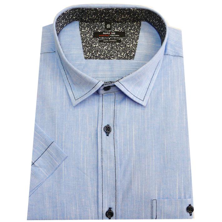 Pánská košile s krátkým rukávem modrá 100% bavlna Native 40701